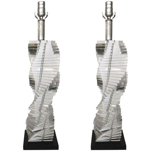 Mid-Century Modern Stacked Clear Lucite Lamps Spiral Staircase Design - a Pair For Sale - Image 13 of 13