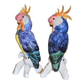 Vintage Majolica Cockatoo Figures - a Pair
