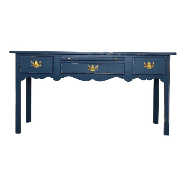 Modern Farmhouse Navy Desk/Console Table For Sale