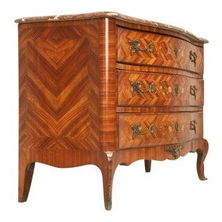 Exquisite Antique French Louis XV Marquetry Commode With Marble