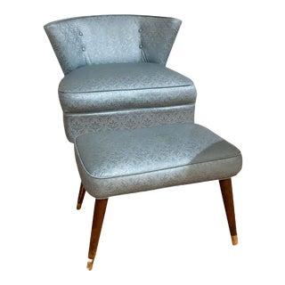 Vintage Mid-Century Modern Rocker Swivel Chair With Matching Footstool - a Set For Sale