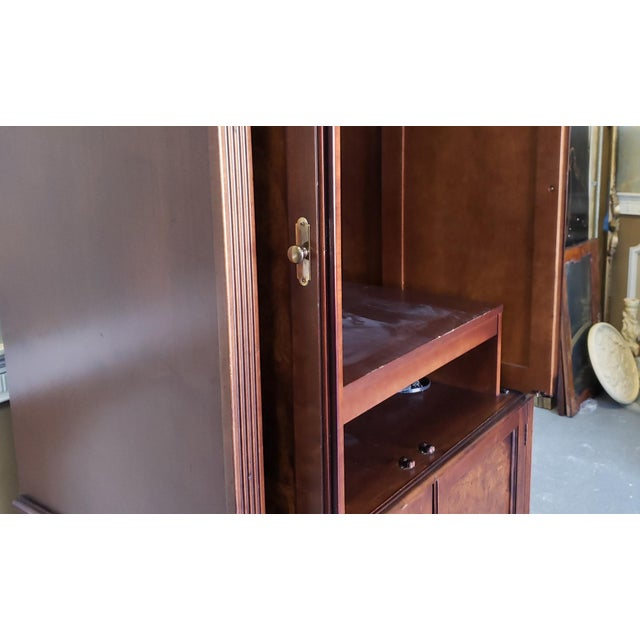 Hekman Furniture Burl Walnut Contemporary Entertainment Tv Armoire Cabinet For Sale - Image 9 of 13
