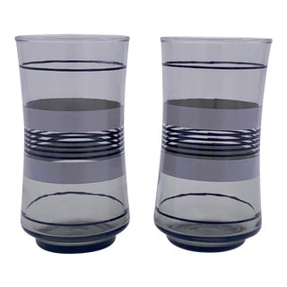 1980s Libbey Smoked Tumbler Glasses - Set of 2 For Sale