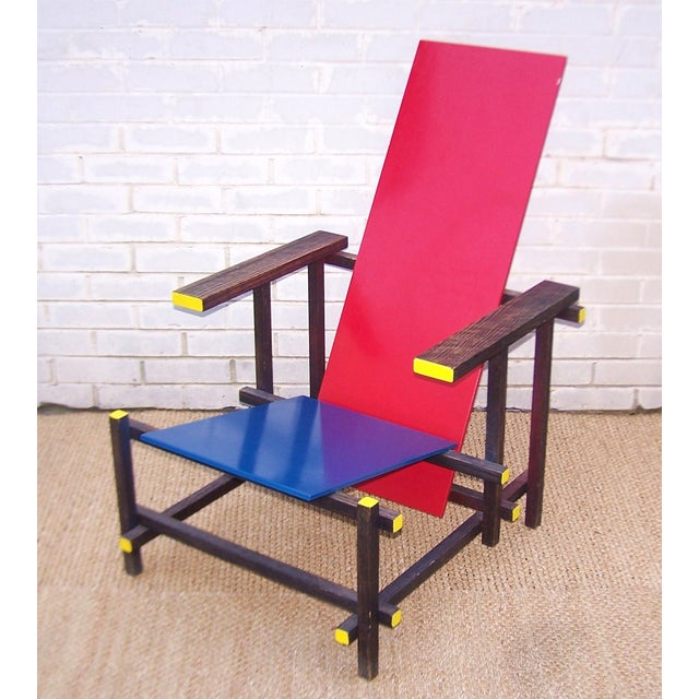 Gerrit Rietveld Style Red & Blue Chair For Sale - Image 7 of 11