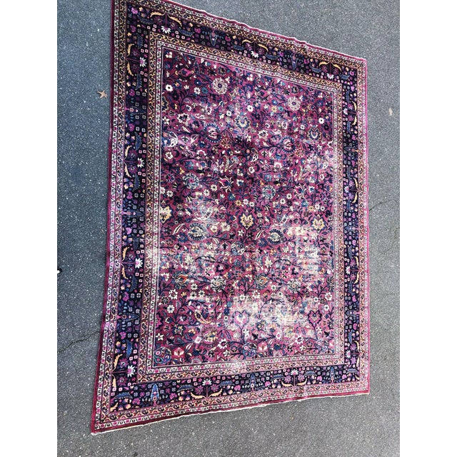 "Stunning, extra large, distressed ""eggplant color"" antique Persian rug, likely Mashad early 1900's. Please refer to..."