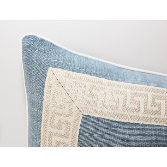 Hollywood Regency Light Blue Linen Greek Key Lumbar Pillow For Sale - Image 3 of 6