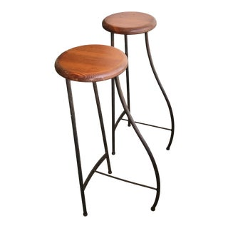 1960s Vintage Hand-Crafted Counter Stools - a Pair For Sale