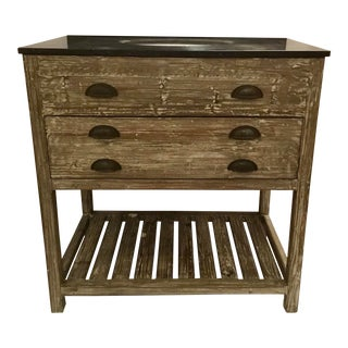 Industrial Modern Reclaimed Fir Wood Blustone Sink Vanity For Sale