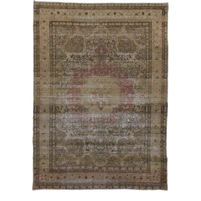 Antique Persian Kermanshah Area Rug - 09'05 X 13'02 For Sale