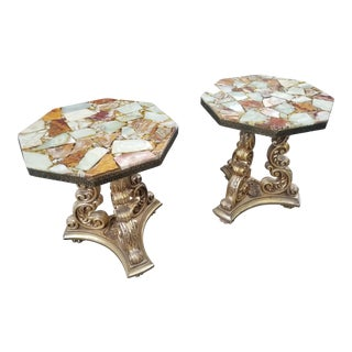 1960s Hollywood Regency Quartz and Gold Stone End Tables - a Pair For Sale