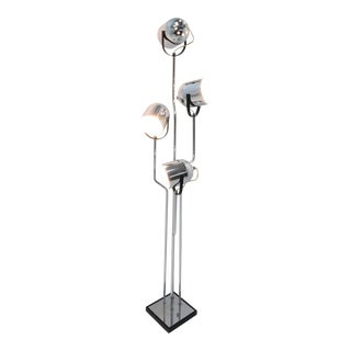 Reggiani 4 Head Chrome and Black Floor Lamp For Sale