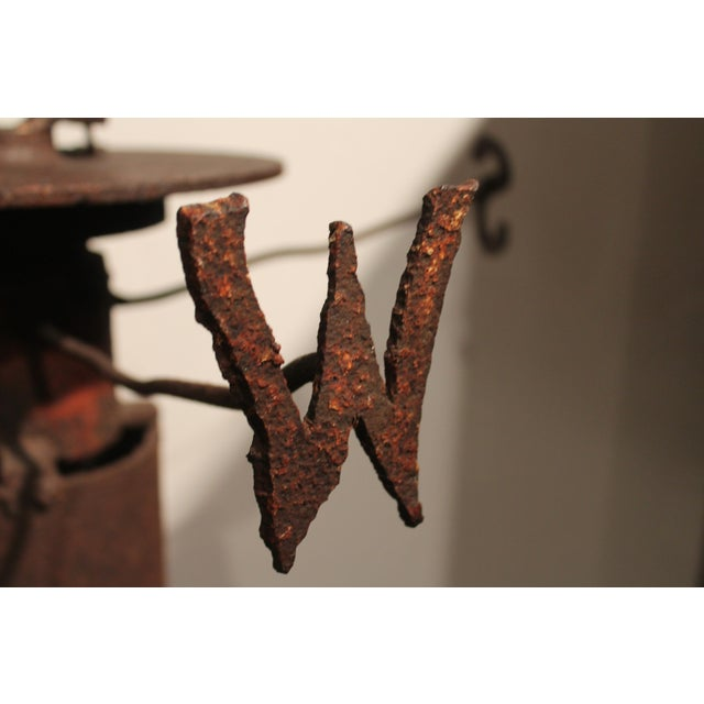 Rare 19th Century Original Painted Iron Indian Weathervane with Stand - Image 6 of 9