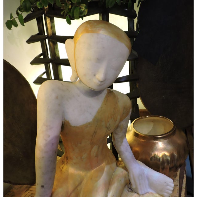 Anonymous Sweet Alabaster Monk Devotee For Sale - Image 4 of 6