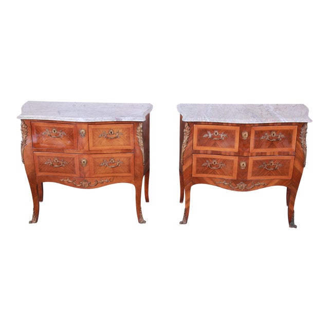 Louis XV Style Inlaid Mahogany Marble Top Nightstands or Commodes, Pair For Sale