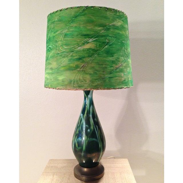 Mid-Century Green Ceramic Lamp & Handpainted Shade - Image 2 of 9