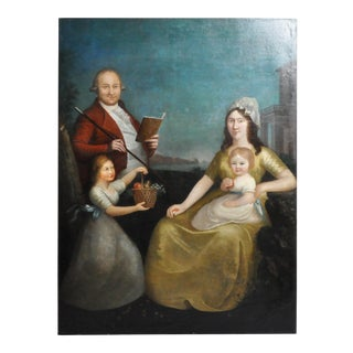 C. 1800 Portrait of an Italian Family Oil Painting For Sale