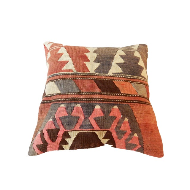 Old Caucasian Tribal Kilim Pillow - Image 4 of 9