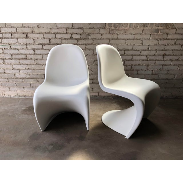 2000 - 2009 Modern Vitra Panton Matte White S Chairs - A Pair For Sale - Image 5 of 13
