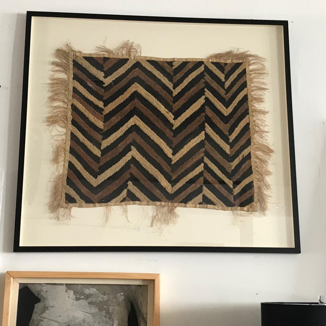 Antique African Zig Zag Pattern Kuba Cloth Tapestry For Sale In Los Angeles - Image 6 of 6