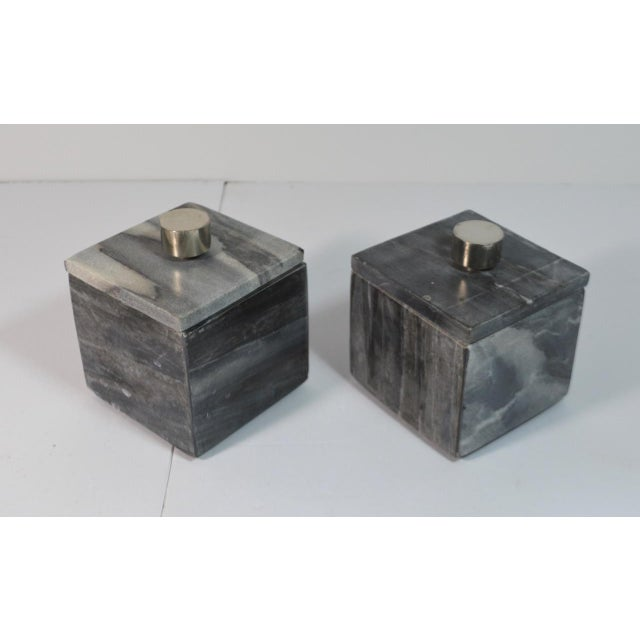 Stone Contemporary Small Square Slate Gray Marble Boxes - A Pair For Sale - Image 7 of 7