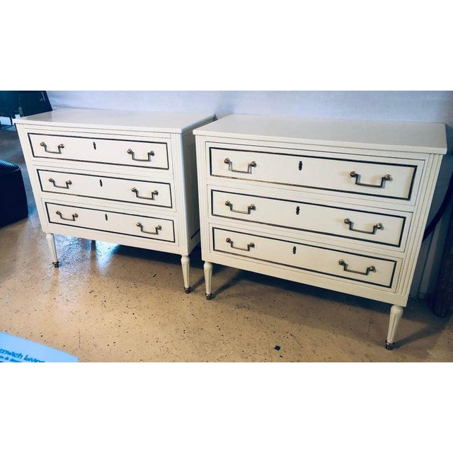 French Pair of Stamped Jansen Commodes or Nightstands Chests in Louis XVI Style For Sale - Image 3 of 13