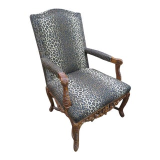 Hand Carved Drexel Leopard Arm Chair