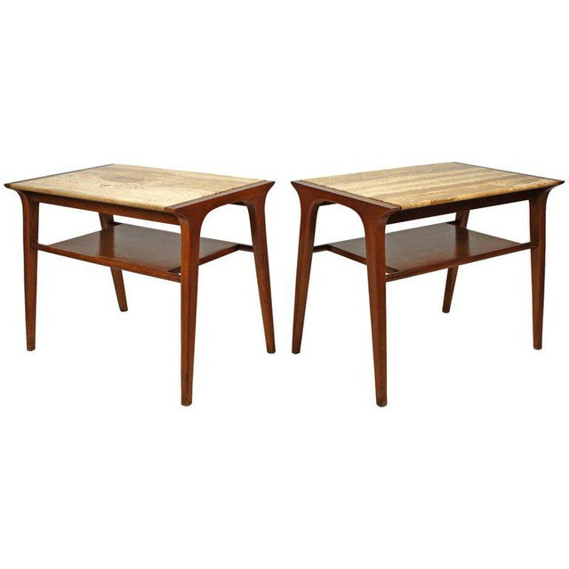 John Van Koert Walnut and Travertine Side Tables for Drexel For Sale - Image 10 of 10