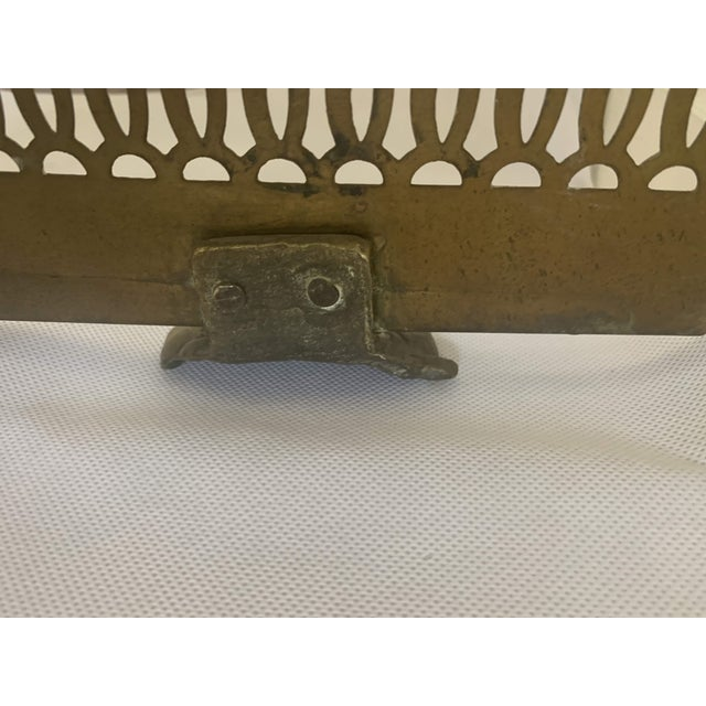 Vintage Brass Claw Foot Fireplace Fender For Sale - Image 10 of 13