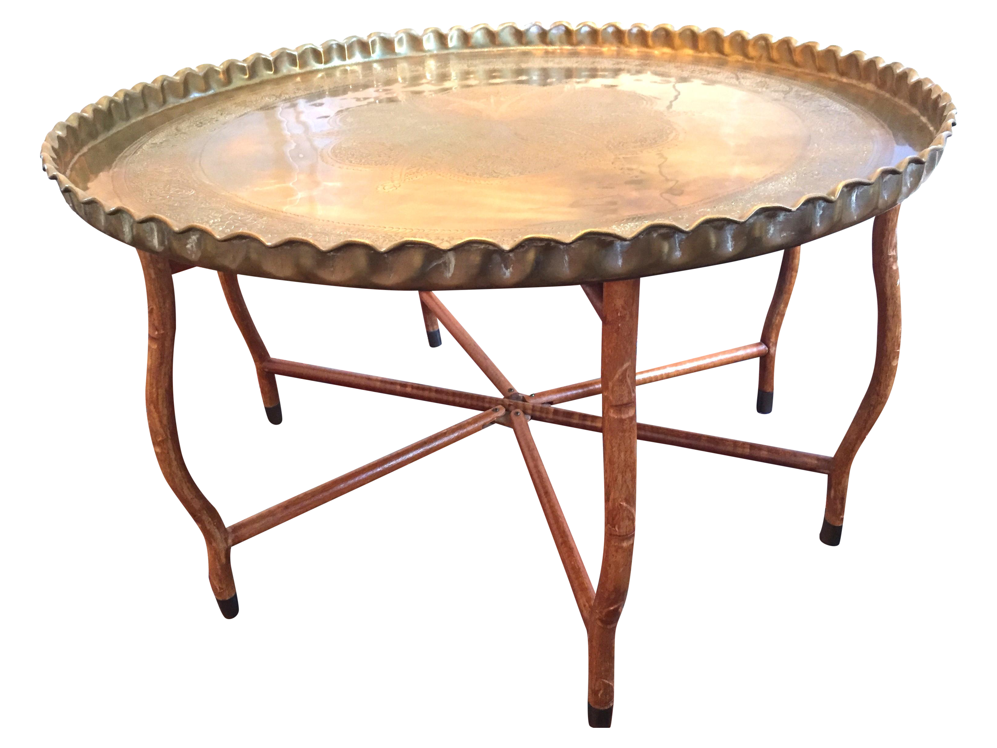 Mid Century Hand Hammered Brass Tray Coffee Table