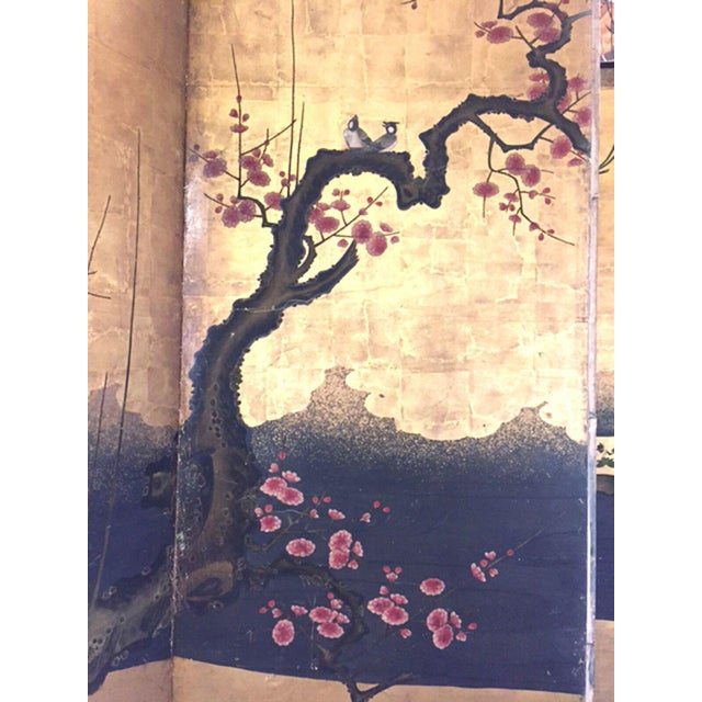 Gold 18th Century Antique Japanese Gold Leaf Screen with Blossoms and Birds For Sale - Image 8 of 10