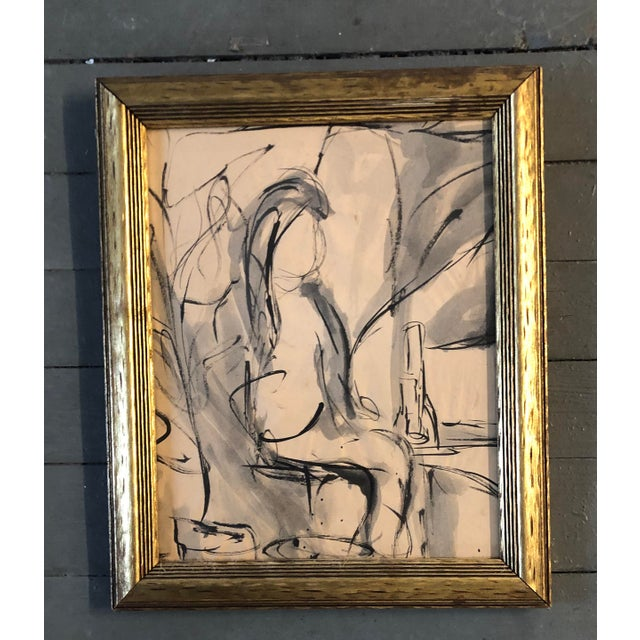 Vintage Original Abstract Figure Painting Interior Mid Century Modern For Sale - Image 4 of 4