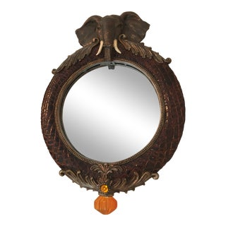 1950s Asian Elephant Mirror With Carved Head and Frame For Sale