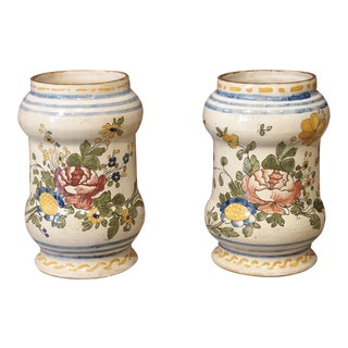 Pair of Antique Albarello Apothecary Jars From Italy For Sale