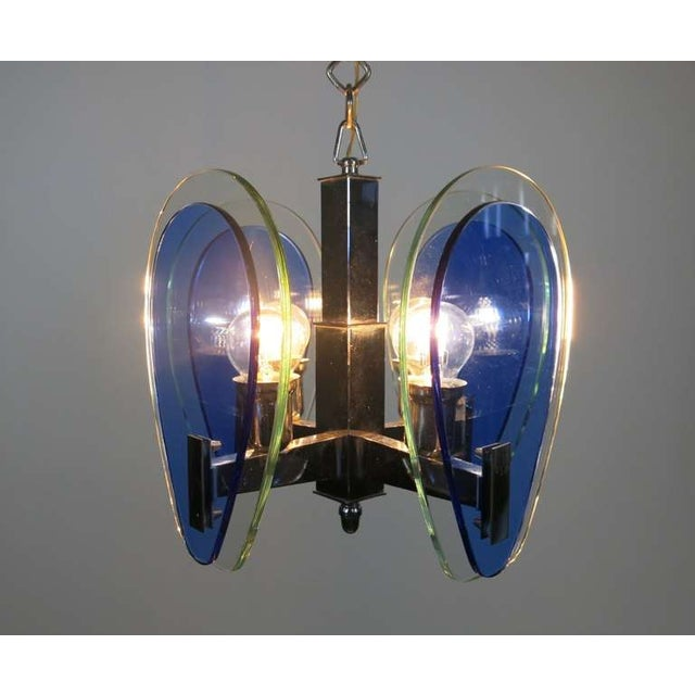 Italian 1970s Vintage Fontana Arte-Style Two Toned Pendant For Sale - Image 3 of 6