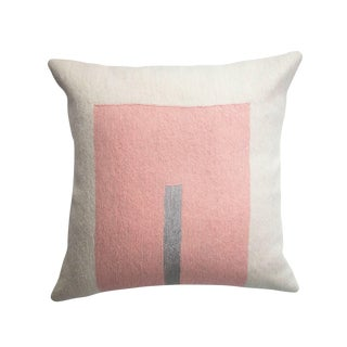 Modern Daphne Square Silver Hand Embroidered Geometric Wool Throw Pillow Cover For Sale