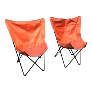 CB2 Orange Butterfly Chairs - A Pair
