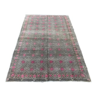 Vintage Floral Boho Turkish Oushak Floor Rug - 4′3″ × 7′ For Sale