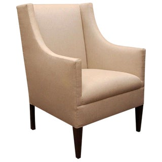 """Edward"" by Lee Stanton Armchair Upholstered in Belgian Linen or Custom Fabric For Sale"