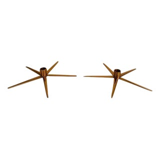 Ystad Swedish Brass Candleholders - A Pair For Sale