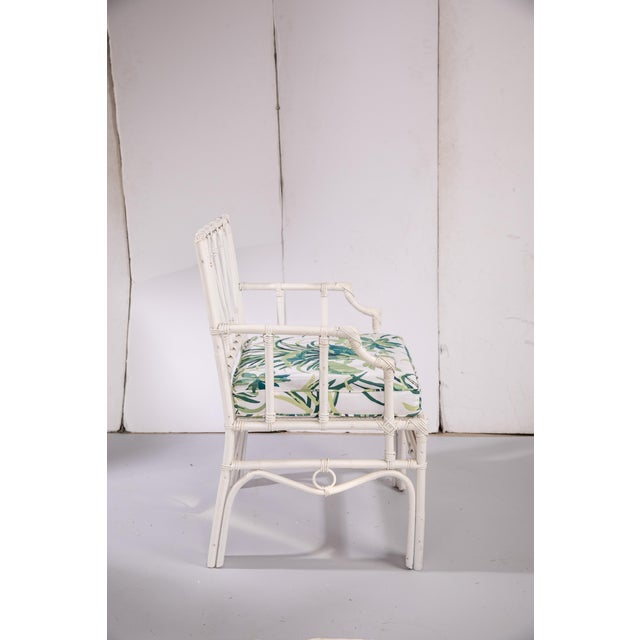 1950s Vintage White Rattan Armchair For Sale - Image 4 of 13