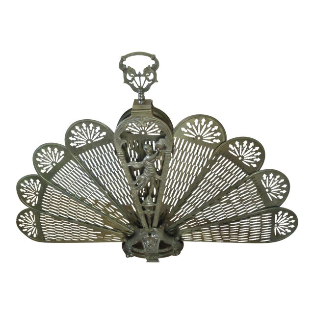 20th Century Art Deco Brass Peacock Fireplace Screen For Sale
