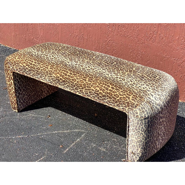 Contemporary Leopard Velvet Waterfall Bench For Sale - Image 10 of 10