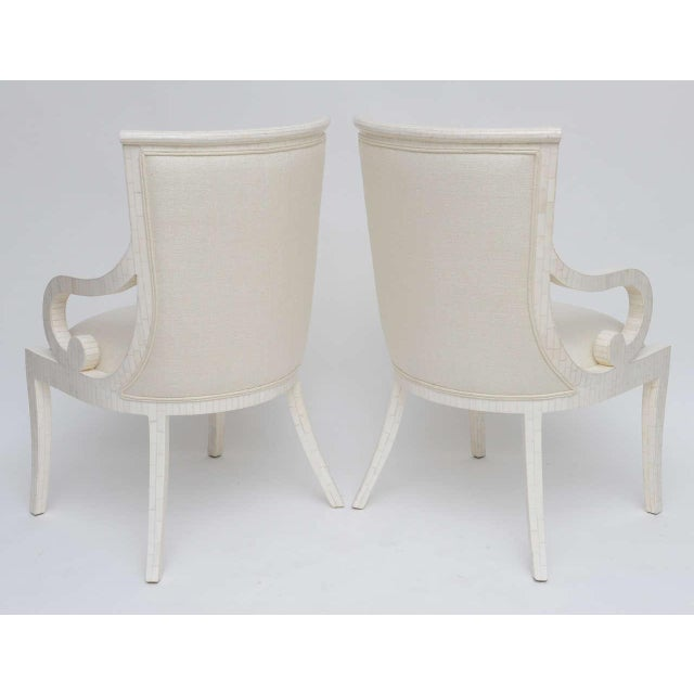 Bone Pair of Tessellated Bone Armchairs With Silk Upholstery For Sale - Image 7 of 10