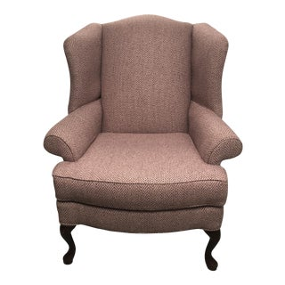 1990s Traditional Pink Wingback Chair For Sale