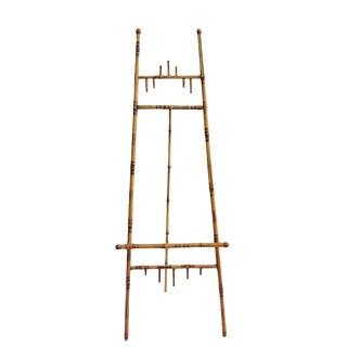 Vintage Tortoiseshell Bamboo Floor Easel Victorian Burnt Bamboo Display Stand - 64 Inch For Sale