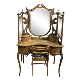 Antique Vanity & Chair For Sale