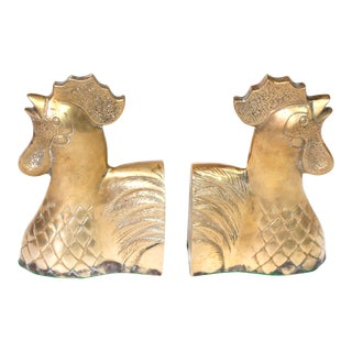 Vintage Brass Rooster Bookends - a Pair For Sale