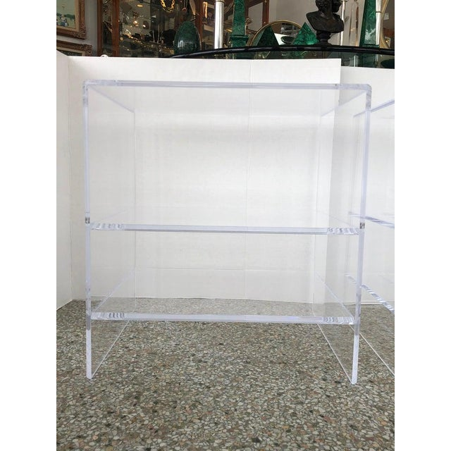 Floor Sample Lucite Nightstands Beveled Top Edges the Pair - Night Stands For Sale - Image 9 of 10