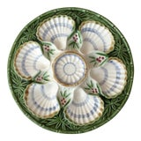 Image of 19th Century French Country Majolica Bamboo and Berries Oyster Plate For Sale