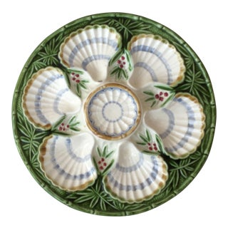 19th Century French Country Majolica Bamboo and Berries Oyster Plate For Sale